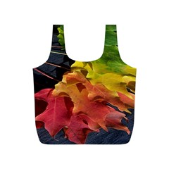 Green Yellow Red Maple Leaf Full Print Recycle Bags (S)