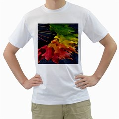 Green Yellow Red Maple Leaf Men s T-Shirt (White)