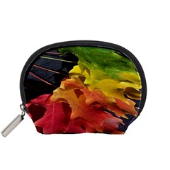 Green Yellow Red Maple Leaf Accessory Pouches (small)