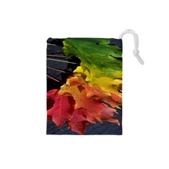 Green Yellow Red Maple Leaf Drawstring Pouches (Small)