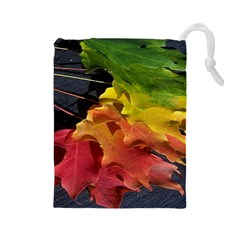 Green Yellow Red Maple Leaf Drawstring Pouches (Large)