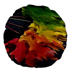 Green Yellow Red Maple Leaf Large 18  Premium Flano Round Cushions