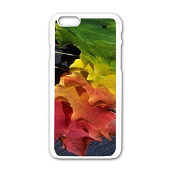 Green Yellow Red Maple Leaf Apple iPhone 6/6S White Enamel Case