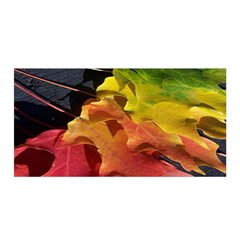 Green Yellow Red Maple Leaf Satin Wrap