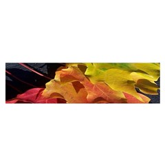 Green Yellow Red Maple Leaf Satin Scarf (oblong)