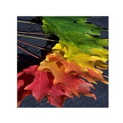 Green Yellow Red Maple Leaf Small Satin Scarf (square)