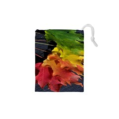 Green Yellow Red Maple Leaf Drawstring Pouches (xs)