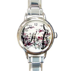 Pink Flower Ink Painting Art Round Italian Charm Watch
