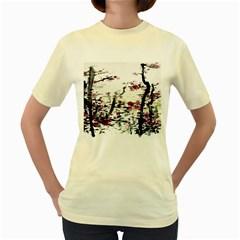 Pink Flower Ink Painting Art Women s Yellow T Shirt