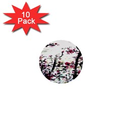 Pink Flower Ink Painting Art 1  Mini Buttons (10 Pack)