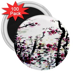 Pink Flower Ink Painting Art 3  Magnets (100 pack)