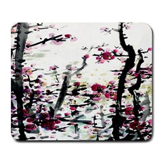 Pink Flower Ink Painting Art Large Mousepads