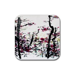 Pink Flower Ink Painting Art Rubber Coaster (Square)
