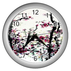 Pink Flower Ink Painting Art Wall Clocks (silver)