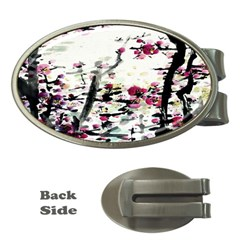 Pink Flower Ink Painting Art Money Clips (Oval)