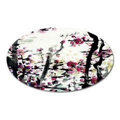 Pink Flower Ink Painting Art Oval Magnet