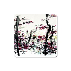 Pink Flower Ink Painting Art Square Magnet