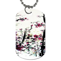 Pink Flower Ink Painting Art Dog Tag (One Side)