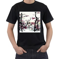 Pink Flower Ink Painting Art Men s T-Shirt (Black) (Two Sided)