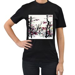 Pink Flower Ink Painting Art Women s T-Shirt (Black) (Two Sided)