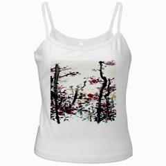 Pink Flower Ink Painting Art Ladies Camisoles