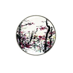 Pink Flower Ink Painting Art Hat Clip Ball Marker (4 pack)