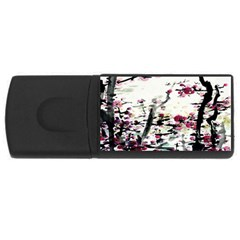 Pink Flower Ink Painting Art USB Flash Drive Rectangular (4 GB)