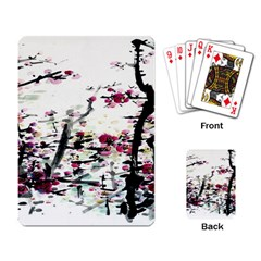 Pink Flower Ink Painting Art Playing Card