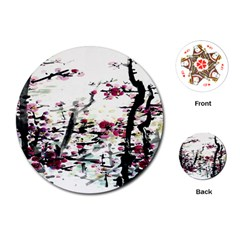 Pink Flower Ink Painting Art Playing Cards (Round)