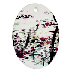 Pink Flower Ink Painting Art Oval Ornament (Two Sides)