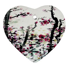 Pink Flower Ink Painting Art Heart Ornament (Two Sides)