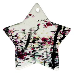 Pink Flower Ink Painting Art Star Ornament (Two Sides)