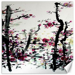 Pink Flower Ink Painting Art Canvas 16  x 16