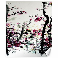 Pink Flower Ink Painting Art Canvas 16  X 20