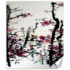 Pink Flower Ink Painting Art Canvas 20  x 24