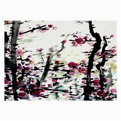 Pink Flower Ink Painting Art Large Glasses Cloth