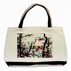 Pink Flower Ink Painting Art Basic Tote Bag (Two Sides)