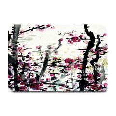 Pink Flower Ink Painting Art Plate Mats