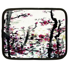 Pink Flower Ink Painting Art Netbook Case (Large)