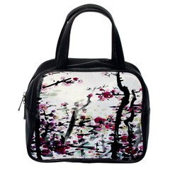 Pink Flower Ink Painting Art Classic Handbags (one Side)