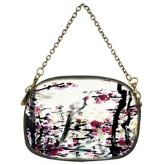 Pink Flower Ink Painting Art Chain Purses (One Side)