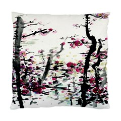 Pink Flower Ink Painting Art Standard Cushion Case (two Sides)