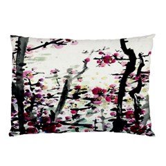 Pink Flower Ink Painting Art Pillow Case