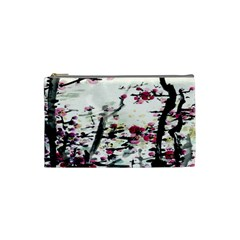 Pink Flower Ink Painting Art Cosmetic Bag (small)