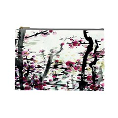 Pink Flower Ink Painting Art Cosmetic Bag (Large)