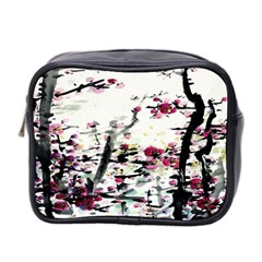Pink Flower Ink Painting Art Mini Toiletries Bag 2 Side