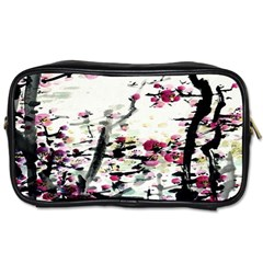 Pink Flower Ink Painting Art Toiletries Bags