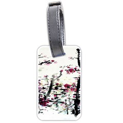 Pink Flower Ink Painting Art Luggage Tags (one Side)