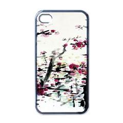 Pink Flower Ink Painting Art Apple iPhone 4 Case (Black)