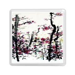 Pink Flower Ink Painting Art Memory Card Reader (square)